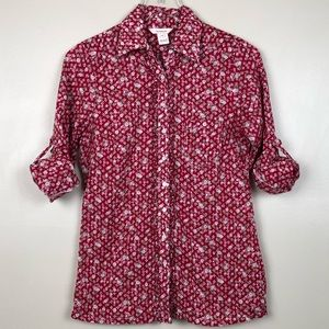 Sundance Catalog Red Floral Button Down Shirt M